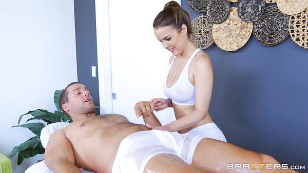 Big booty busty cutie Dillion Harper loves big cocks on oiled massage