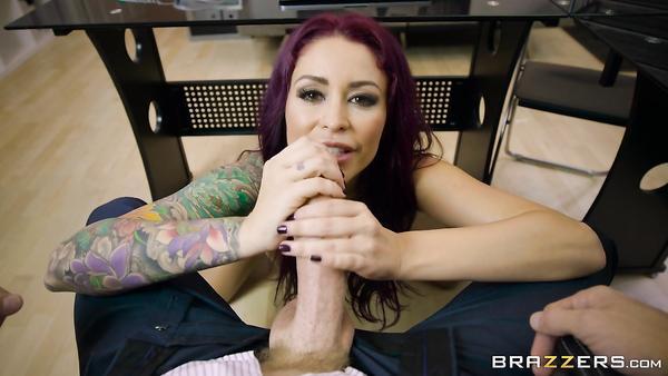 Mature tattooed secretary Monique Alexander with big boobs seduces her boss and sucks his dick