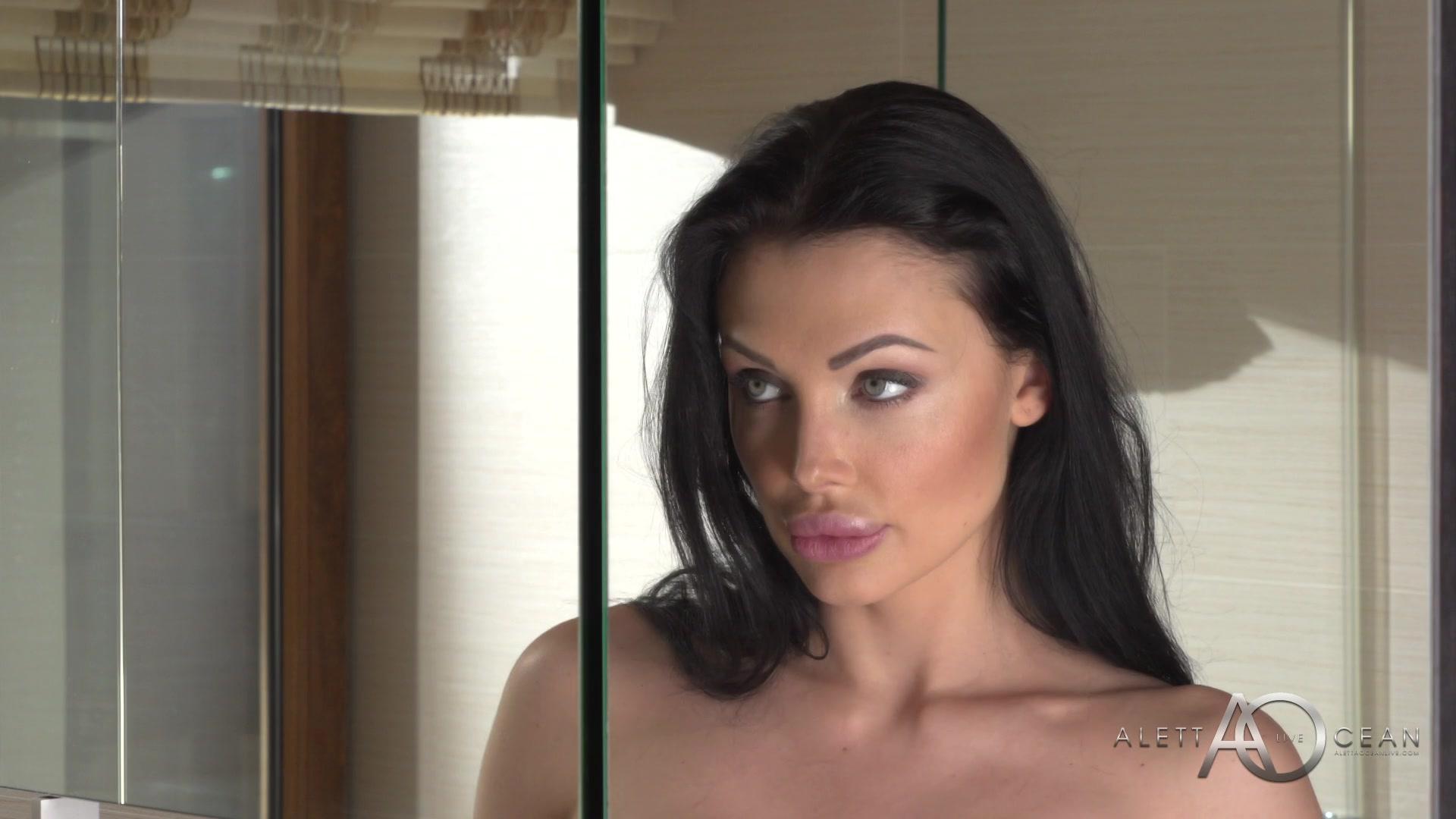 Gorgeous skinny girl Aletta Ocean is masturbating