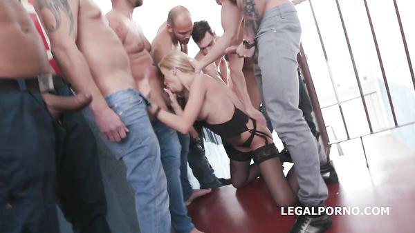 Katrin Tequila - Ten guys fuck my poor stockinged ass