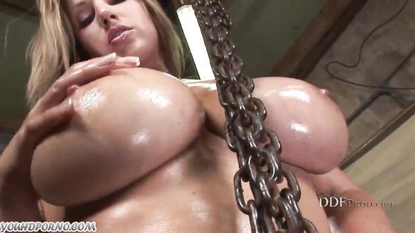 Big natural boobs car mechanic fucks her ass in a car repair shop