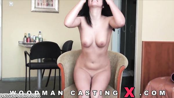 Modest brunette gets her pussy banged on porn casting