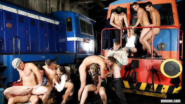 A squad of railwaymen in the Bi-sex orgy in a depot